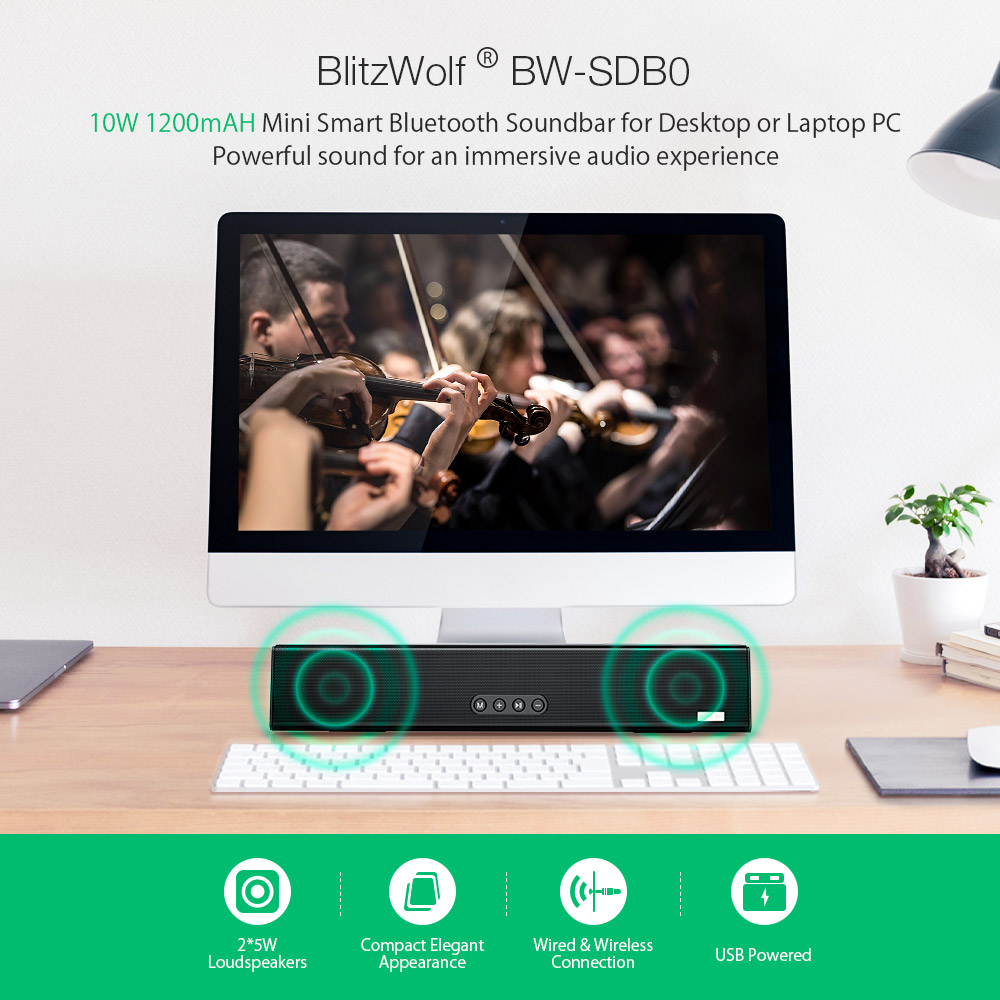 Blitzwolf® BW-SDB0 10W 1200mAH Mini bluetooth Soundbar